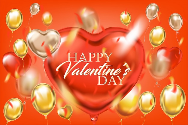 Goldene rote ballone mit glücklichem valentinstag