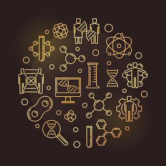 Goldene runde goldene illustration der menschlichen genetischen änderung