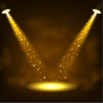 Goldene scheinwerfer, die mit scheinen glänzen