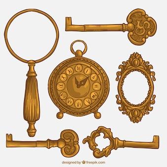 Goldene schlüssel und vintage-elemente