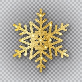 Goldene schneeflocke auf transparentem hintergrund