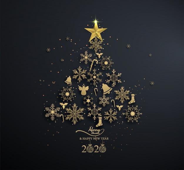 Goldene schneeflocke in weihnachtsbaum mit dekoration auf schwarzem
