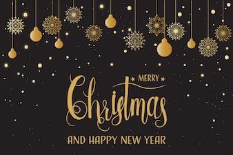 Goldene Schneeflocken der frohen Weihnachten mit Kalligraphie