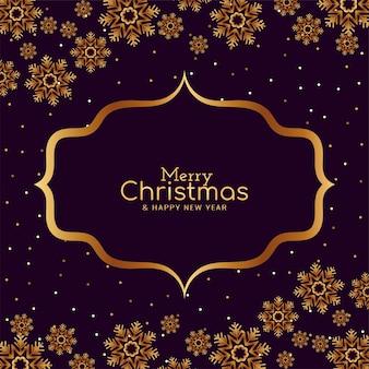 Goldene schneeflockenkarte der frohen weihnachten