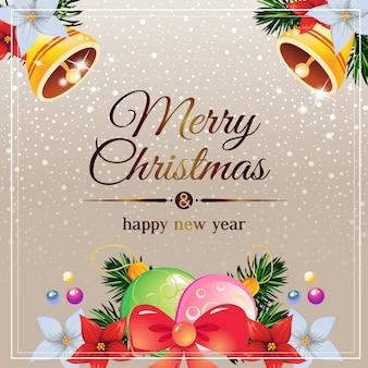 Goldene schneeweihnachtskarte mit kugellicht