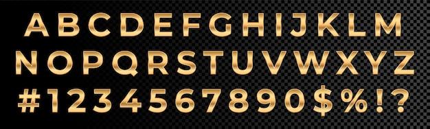 Goldene schrift zahlen und buchstaben alphabet typografie. goldschriftart mit 3d-metallgold-effekt