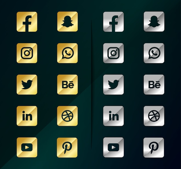 Goldene silber social media icons. social media logo pack