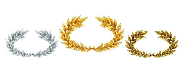 Goldene silber- und bronzelorbeerkränze in realistischem stil als symbol sportleistung isolierte illustration