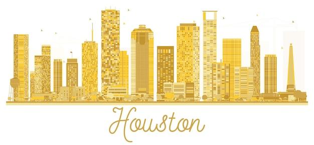 Goldene silhouette der skyline der stadt houston usa. vektor-illustration. geschäftsreisekonzept. houston-stadtbild mit sehenswürdigkeiten.