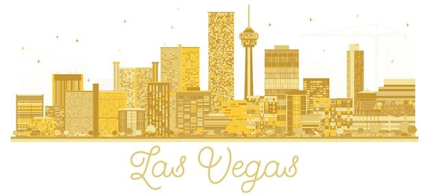 Goldene silhouette der skyline der stadt las vegas usa. vektor-illustration. geschäftsreisekonzept. stadtbild mit wahrzeichen.