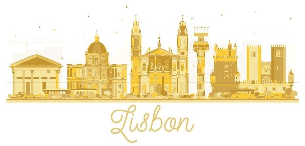 Goldene silhouette der skyline der stadt lissabon. vektor-illustration. stadtbild mit wahrzeichen.