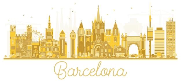 Goldene silhouette der skyline von barcelona, spanien. stadtbild mit sehenswürdigkeiten.