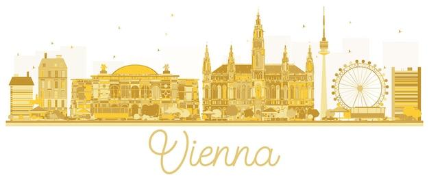 Goldene silhouette der wiener city-skyline. vektor-illustration. geschäftsreisekonzept. wiener stadtbild mit wahrzeichen.