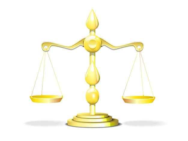 Goldene skalen der gerechtigkeit auf einer weißen hintergrundillustration