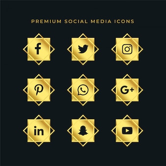 Goldene social media icons set