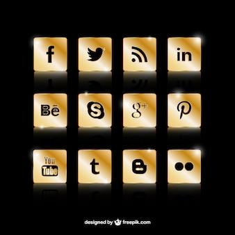 Goldene social media icons