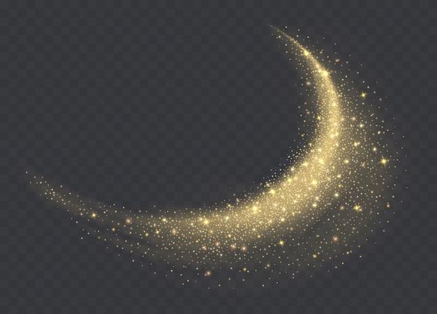 Goldene staubwolke mit den scheinen lokalisiert auf transparentem hintergrund. funkelnder hintergrund des sternenstaubs. glühender glitzernder rauch oder spritzer.