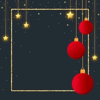 Goldene sterne glitzern rahmen und rote kugeln für einen weihnachtsgrußkartenhintergrund