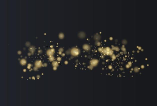 Goldene sterne leuchten mit besonderem licht funkelnde magische staubpartikel