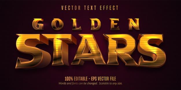Goldene sterne text, glänzender goldener stil bearbeitbarer texteffekt Premium Vektoren