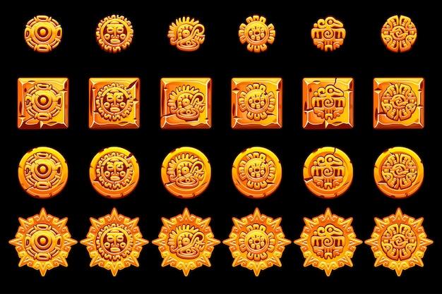 Goldene symbole der alten mexikanischen mythologie isoliert. amerikanisches aztekisches, gebürtiges totem der mayakultur. vektorsymbole. objekte auf einer separaten ebene.