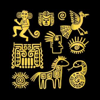 Goldene symbole des aztekischen alten tieres