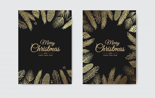 Goldene tannenzweiggrußkarte der frohen weihnachten und des guten rutsch ins neue jahr