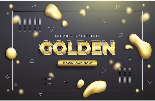 Goldene text-effekt-grafikstile