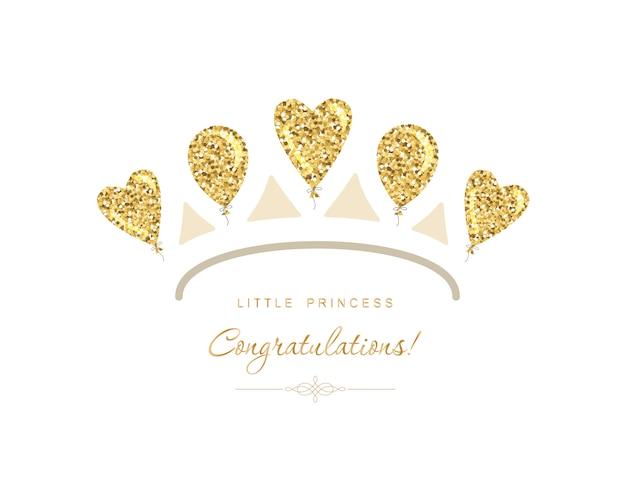 Goldene tiara-ikone aus glitzer-luftballons.