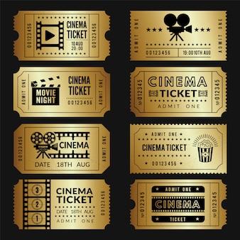 Goldene tickets. eintrittskarten für kinokarten mit abbildungen von videokameras und anderen tools