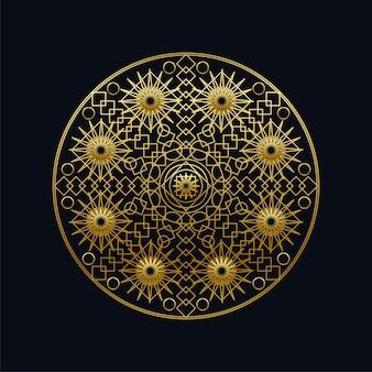 Goldene tinte geometrische mandala lineare vektor-illustration. ethnisches orientalisches symbol lokalisiert auf schwarzem