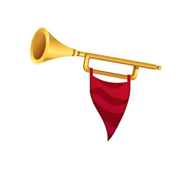 Goldene trompete mit roter flagge auf weißer realistischer illustration