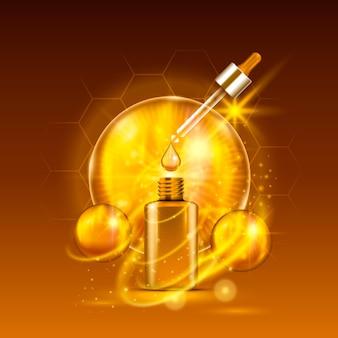 Goldene tropfflasche des vitalserums auf hellbraunem hintergrund. design der vitamin-formel-behandlung. werbekonzept. vektor