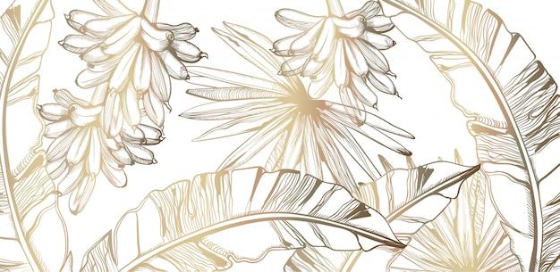 Goldene tropische linie kunst des palmblatt- und bananenmusters. exotische dekorationen des sommerplakats