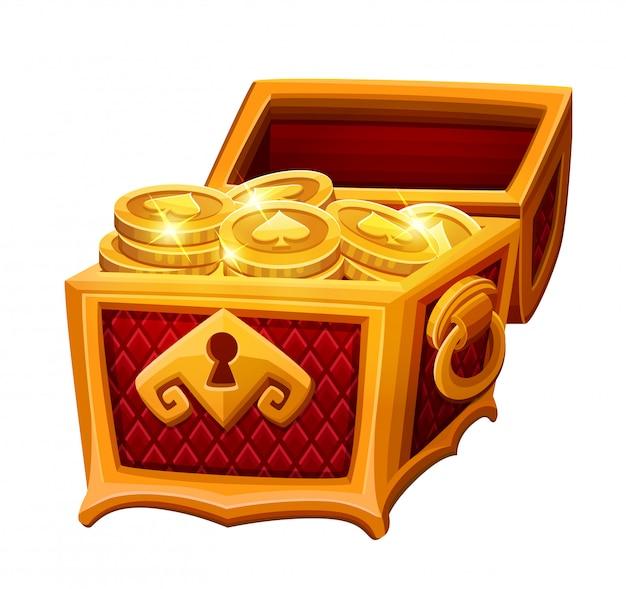 Goldene truhe mit münzen