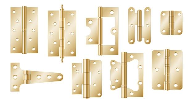 Goldene türscharniere, baubeschläge isoliert auf weißem hintergrund. realistisches set von goldwerkzeugen für gemeinsame tore und fenster. 3d metallscharniere für haus und möbel. 3d-vektor-illustration