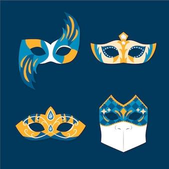 Goldene und blaue 2d venezianische karnevalsmasken