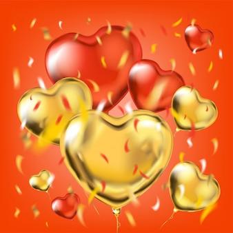 Goldene und rote metallische herzformballone und folienkonfettis