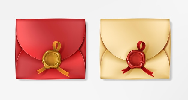 Goldene und rote vintage-umschläge mit wachssiegeln. geschlossener rohling mit rundem stempel mit band.