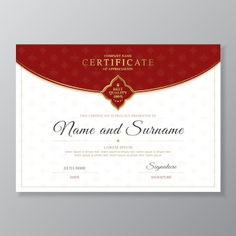 Goldene und rote zertifikat- und diplomdesignschablone