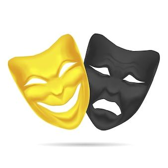 Goldene und schwarze komödie und tragödie-masken-theater. realistischer paarausdruck glücklich und traurig für die leistung. vektor-illustration