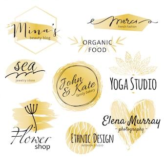 Goldene und schwarze logo-kollektion.