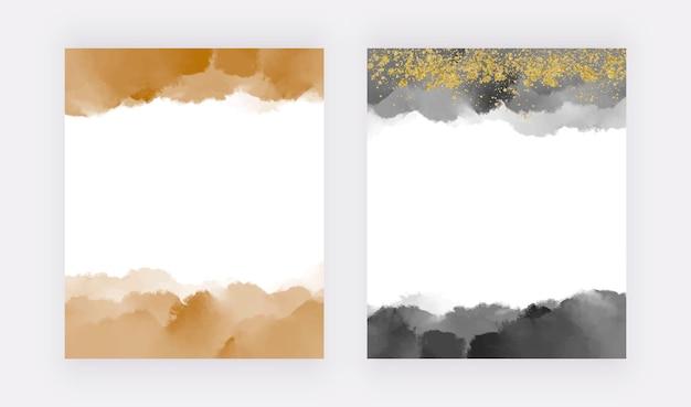 Goldene und schwarze pinselstrich-aquarell-grenzstruktur mit glitzer-konfetti
