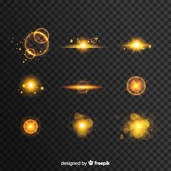 Goldene und schwarze sammlung des lichteffektes