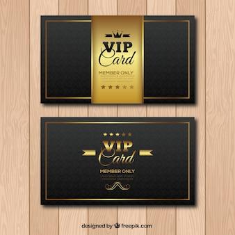 Goldene und schwarze vip-karten