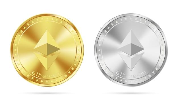 Goldene und silberne ethereum-münze isoliert auf weiß
