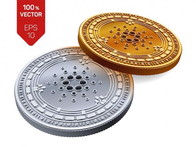 Goldene und silberne kryptowährungsmünzen mit cardano-symbol lokalisiert auf weißem hintergrund.