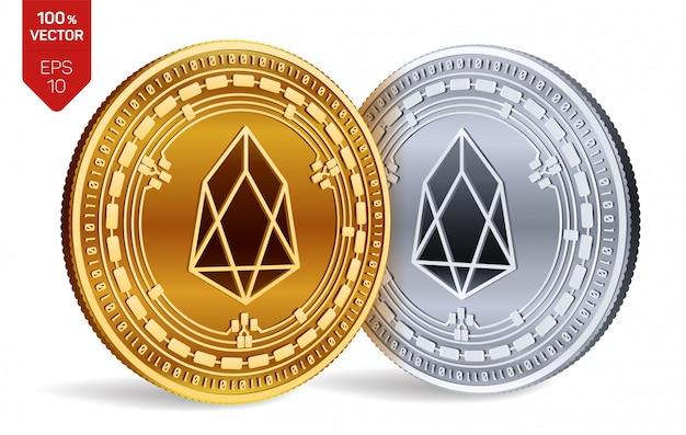 Goldene und silberne kryptowährungsmünzen mit eos-symbol lokalisiert auf weißem hintergrund.