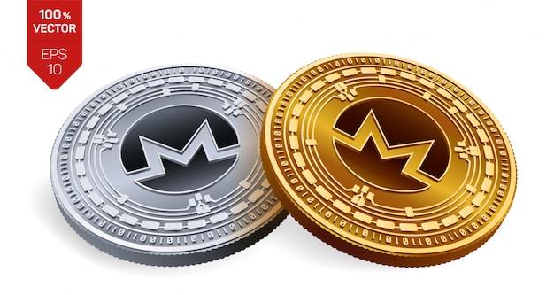 Goldene und silberne kryptowährungsmünzen mit monero-symbol lokalisiert auf weißem hintergrund.