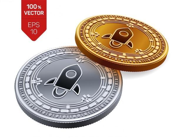 Goldene und silberne kryptowährungsmünzen mit stellarem symbol lokalisiert auf weißem hintergrund.